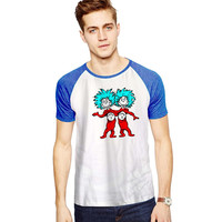Thing 1 Thing 2 Dr Seuss For Short Raglan Sleeves T-shirt, Red Tees, Black Tees, Blue Tees **