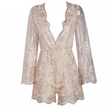 Glitter Flare Sleeves Playsuit