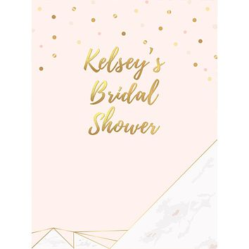 Custom Contemporary Gold Polka Dots and Marble Bridal Shower Backdrop (Any Color) Background - C0274