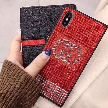 LV Chanel Supreme Popular Personality Water Drill Mobile Phone Case All-Inclusive Iphone X Luxury Case Glitter Protective Diamond Case(6-Style) Gucci Red I12215-1