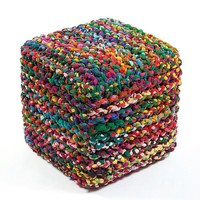 Upcycled Cotton Colorful Boho Pouf Ottoman