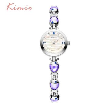 KIMIO Water Phantom Pattern Venus Fish Gemstone Bracelets Quartz Watch Woman Luxury Famous Brand 2017 Women Dress Wrist Watches