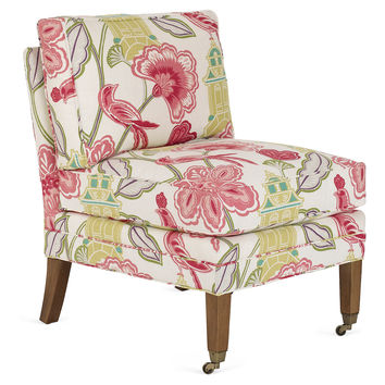 Milly Armless Accent Chair, Pink/Multi, Accent & Occasional Chairs