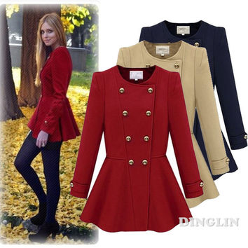 GZDL Fashion Women Long Sleeve O Neck Double-Breasted Woolen Jacket Peplum Slim Autumn Winter Pleated Coat Overcoat Outwear 0197