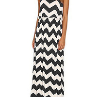 Black and White Chevron Printed Maxi Dress