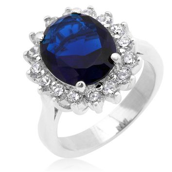 Katie Royal Sapphire Cambridge Oval Engagement Cocktail Ring | 6.5ct | Cubic Zirconia | Silver