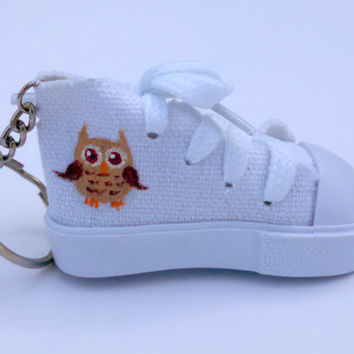 Hand Painted Small Shoe Custom Keychain Cute Owl Accessory Functional Shoelaces Sneaker Charm Painted Keyring Gifts Under 10 Gifts Under 15