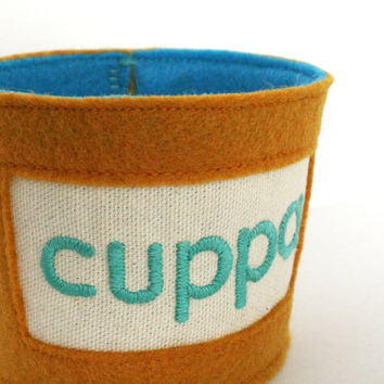 hand embroidered tea cup cozy - cuppa - tea cup sleeve, coffee sleeve, coffee cuff, teachers gift or graduation gift