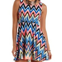 Multi Sleeveless Chevron Print Skater Dress by Charlotte Russe