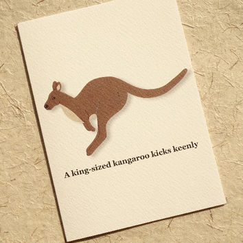 Kangaroo card, gorgeous antipodean marsupial greeting card, hand-illustrated animal card from australia with a quirky alliterative phrase