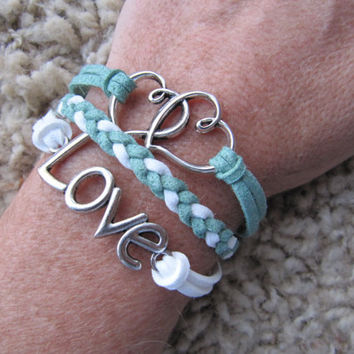 Made in the USA - Mint and White Love Heart Karma Friendship Charm Bracelet