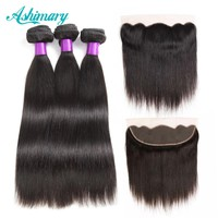 Ashimary Malaysian Straight Hair 13x4 Lace Frontal Closure with Bundles Non-Remy Human Hair with Frontal Closure Free Part