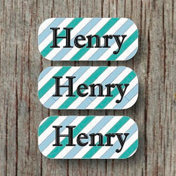 140 Personalized Waterproof Dishwasher Safe Labels Sippy Cup Bottles Daycare Name Labels Stickers Aqua Powder Blue - Henry
