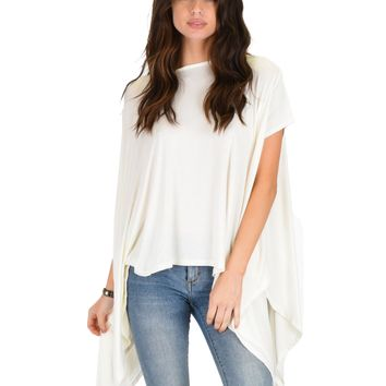 Lyss Loo Somedays Lovin' Comfort Over-sized Draped Ivory Tunic Top