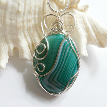 Wire Wrap Jewelry, Green Agate Pendant, Handmade Jewelry