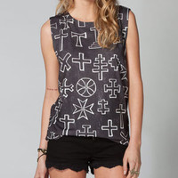 WORKSHOP Cross Pattern Womens Muscle Tee