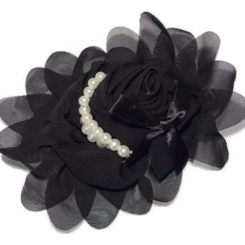 "Black 4.5"" X 4"" chiffon rolled rose with pearl stands"