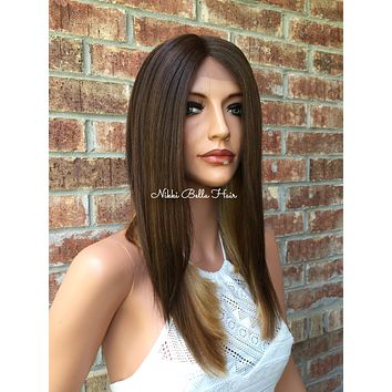"""A Cut Blunt Edge BOB Human Hair Blend Multi Parting lace front wig 16"""""""