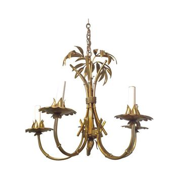 Pre-owned Vintage Brass Bamboo Chandelier