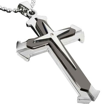 Fashion Male Crystal Cross Pendant Silver Gold Black Stainless Steel Zirconia Jesus Cross Pendant Necklace Jewelry For Men #1011
