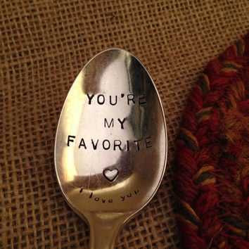 Hand Stamped Silver Spoon, Handstamped Spoon, Stamped Vintage Spoon, Boyfriend Gift, Birthday Gift, Stamped Vintage Spoon, Tablespoon