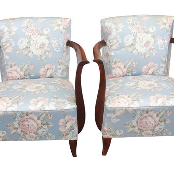 French Deco Carved Walnut Chairs, Pair