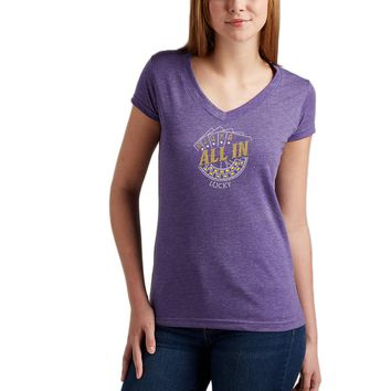 Rhinestones   Lucky ALL IN   V Neck T-Shirt Made by Lucky Gambler
