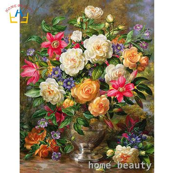 HOME BEAUTY oil painting by numbers flowers modular paintings canvas drawing hand painted by number wall art for bedroom Y104