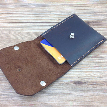 Credit card holder, slim card wallet, valentines gift, personalized wallet, brown, minimalist wallet, small, distressed leather pouch