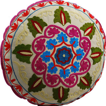 Yoga Meditation Bohemian White Pouf Floor Boho Pillow