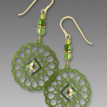 Adajio Earrings - Leaf Green Lacy Disc with Faceted Square Crystal