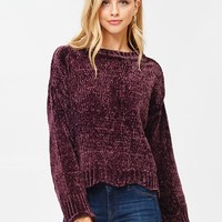 Chunky Chenille Sweater in Plum