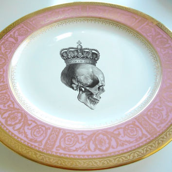 "Pink and Gold Wedgwood Dinner Plate, 11"" , Customize With Your Own Image"
