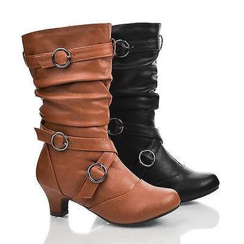 JasIIS Tan Pu By Happy Soda, Children Girls Buckle Strappy Slouch Round Toe Low Heel Mid Calf Boots