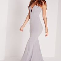 Missguided - Scuba Bandeau Fishtail Maxi Dress Grey
