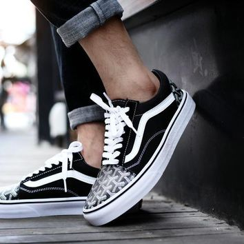 Vans Old Skool X Goyard Customs Black White Low Top Men Flats Shoes Canvas Sneakers Women Sport Shoes