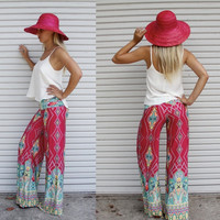Europe stylish printing high waist pants straight fabric trousers