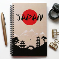 Writing journal, spiral notebook, bullet journal, cute journal diary, sketchbook, travel journal, vacation, blank lined grid - Japan