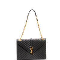 Monogram Matelasse Shoulder Bag, Black - Saint Laurent