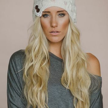 Lace Button Beanie