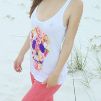 Chaser Tropical Skull Liquid Jersey Cross Back Tank