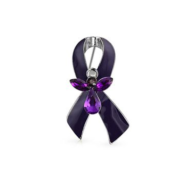Purple Pancreatic Cancer Survivor Angel Pin Brooch Silver Plated