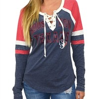 Houston Texans Womens Laceup Long Sleeve Top | SportyThreads.com