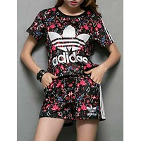 One-nice™ Adidas Summer Series Women Flowers Print T-shirt Shorts Two pieces