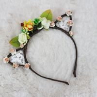 Peach White Floral Lace Cat Ears - Flower Lace Cat Headband - Cat Ears Headband - Kitty Ears -Coachella Festival -Kitten play Ears -Petplay