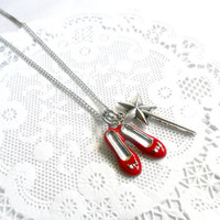 Ruby Red Slippers Wizard of Oz Necklace, With Wand, Dorothy's Slippers, Cute! :)