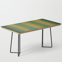 Vintage green striped deck chair cover Coffee Table by steveball
