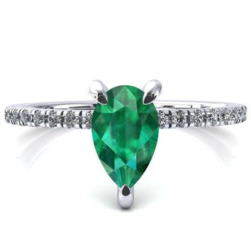 Mayeli Pear Emerald 3 Claw Prong Micro Pave Diamond Sides Engagement Ring