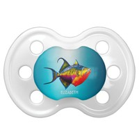 Psychedelic Colorful Triggerfish Fish Drawing Pacifier