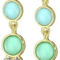 Anne Klein Gold-Tone Teal and Crystal Double Drop Earrings